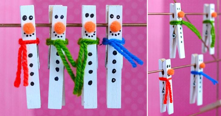 DIY - Clothespin Snowman