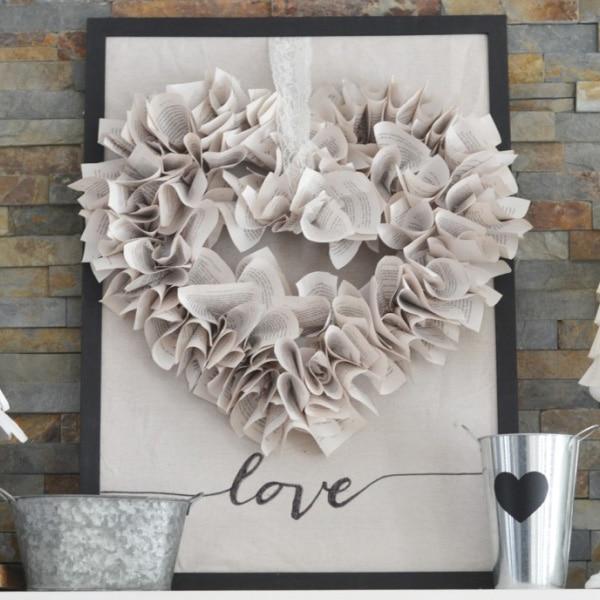 Book Page Heart Wreath - DIY Idea