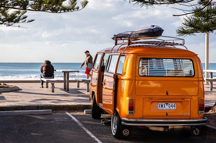 An orange van.
