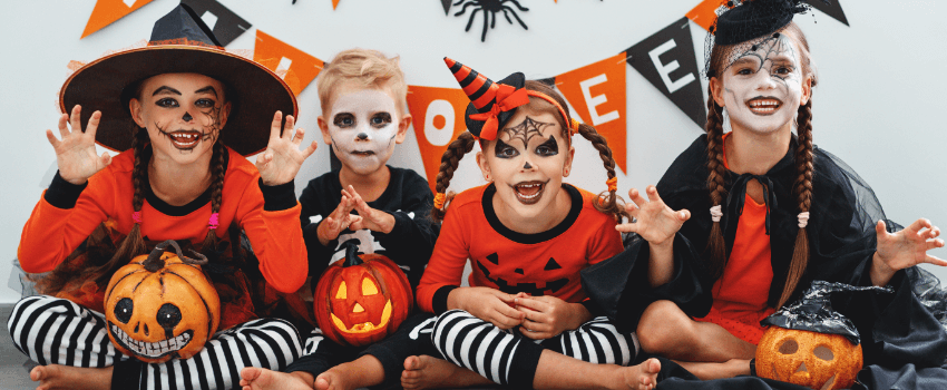 kids having fun on halloween