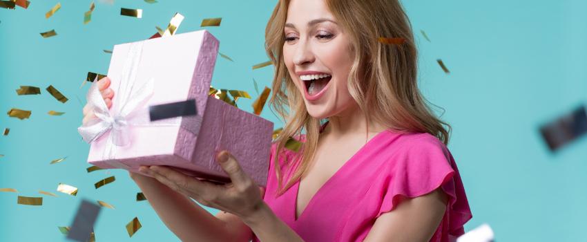 woman winning a prize